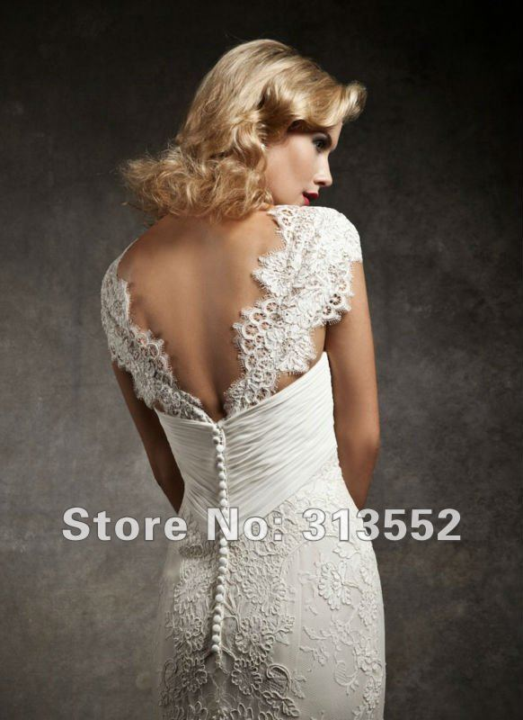 Vintage 1920s Inspired Cap Sleeve Mermaid Lace Wedding Dress by ...