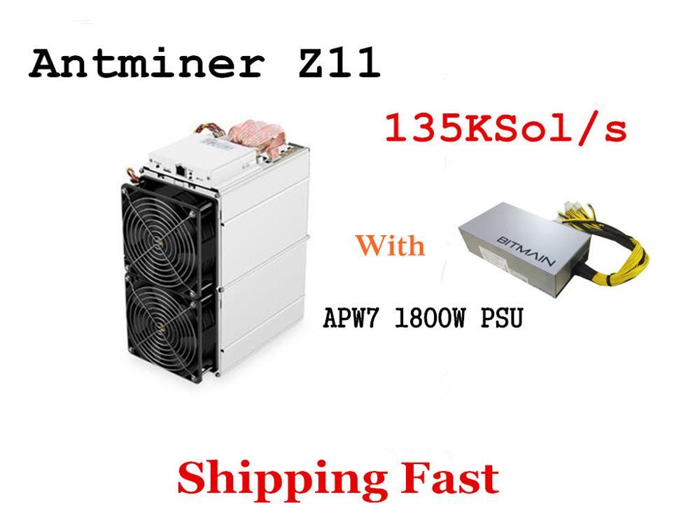 En Stock Antminer Z11 135 k Sol/s 1418 W avec BITMAIN 1800 W PSU Equihash Miner mieux que Antminer Z9 S9 S11 S15 Innosilicon A9