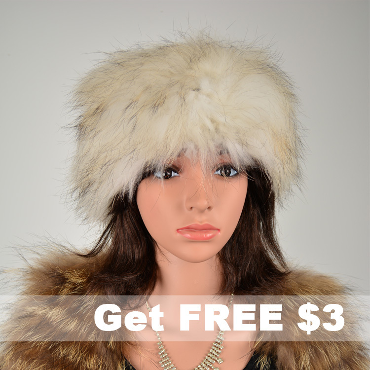 Free Shipping CDS125 Europe Hot Sale Round Knitted Raccoon Fur Hat For Women Knitted Fur Cap Women In winter Can Used As Scarf