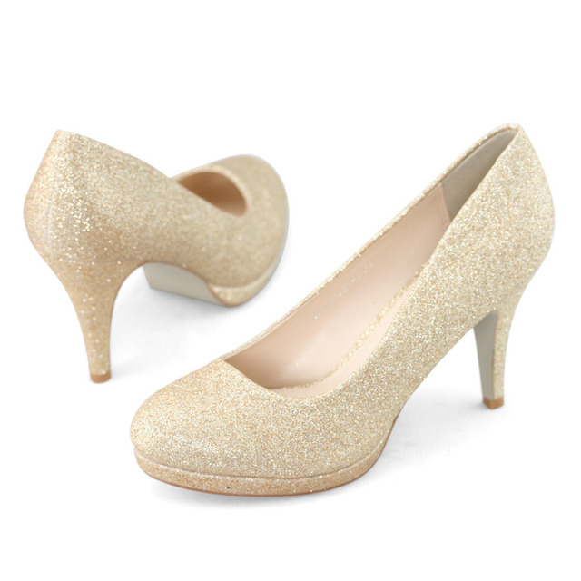 SHOEZY Brand Gold Glitter Wedding Shoes Party Prom Bridal Bridesmaid High  Heels Pumps Sparkly Handmade Shoe