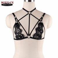 Goth Damenmode Sexy Lace Sheer Bralette Crop Tops Bustier Schwarz Elastische Bondage Körper Harness Bikini durchsichtig unterwäsche