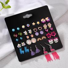 imixlot Wholesale 20 Pairs/Set Mix Style Small Stud Earrings Set For Girls Women Cute Heart Child Earring Fashion Jewelry Gift
