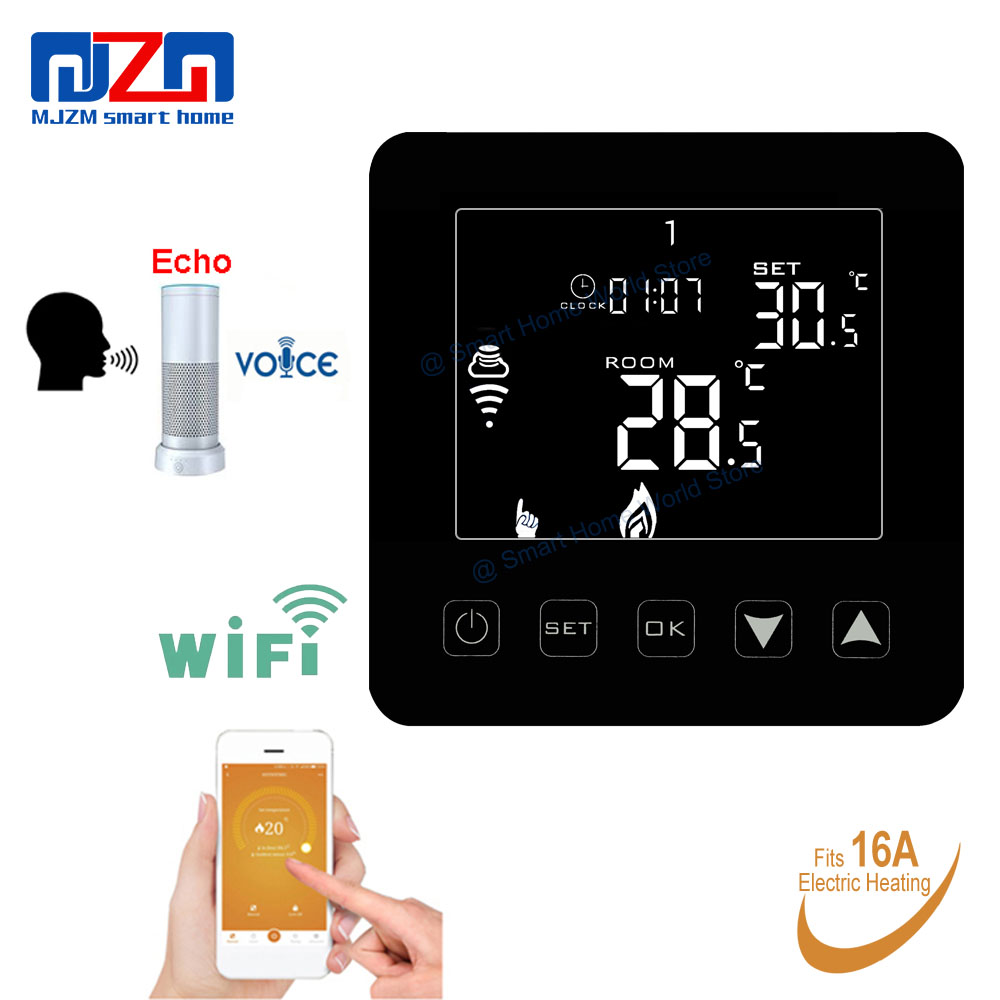 MJZM 16A08 3 WiFi Smart Thermostat for Electric Heating Floor Echo Alexa Voice Control Programmable Black
