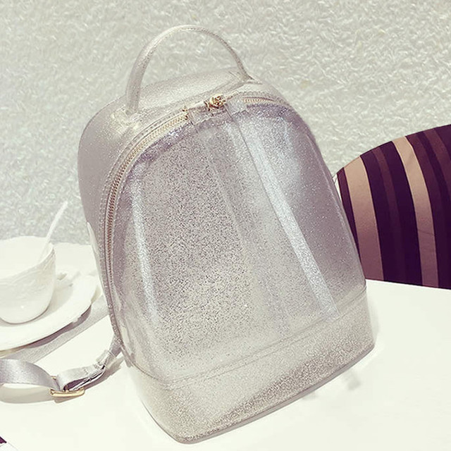 017190c77cce summer South Korea silicon Beach Bag clear transparent Backpack candy color  jelly mochila silver white pink black small cute bag