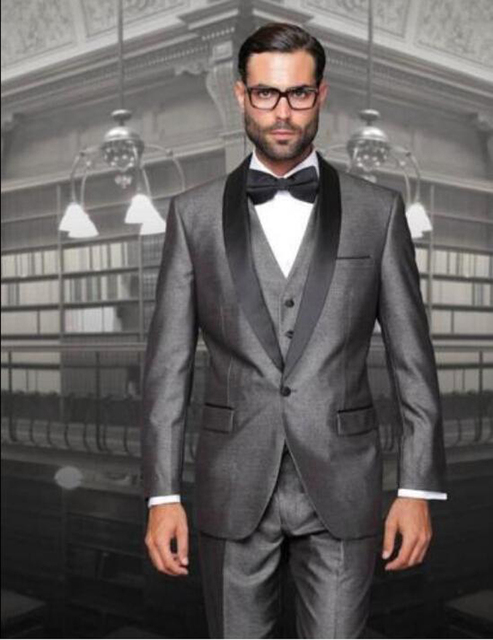 2018 One Button Silver Black Groom Tuxedos Notch Lapel Best Man ...