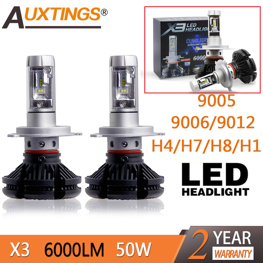 2pcs X3 <font><b>led</b></font> <font><b>headlight</b></font> 50W <font><b>6000LM</b></font> <font><b>H4</b></font> H7 <font><b>LED</b></font> Car <font><b>Headlight</b></font> 3000K/6500K/8000K ZES Chip H1 H11 9005 HB3 9006 HB4 <font><b>LED</b></font> fog Lamp Auto image