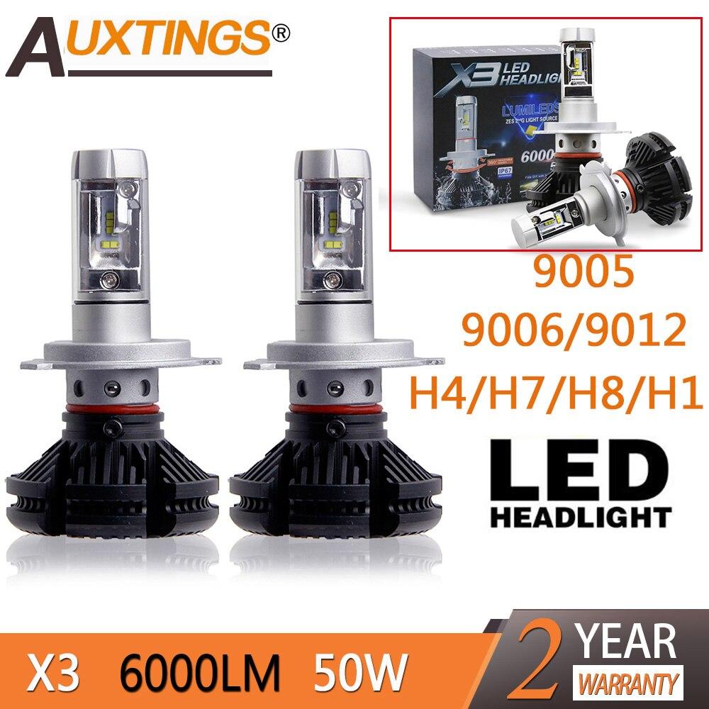2pcs X3 led headlight 50W 6000LM H4 H7 LED Car Headlight 3000K/6500K/8000K ZES Chip H1 H11 9005 HB3 9006 HB4 LED fog Lamp Auto