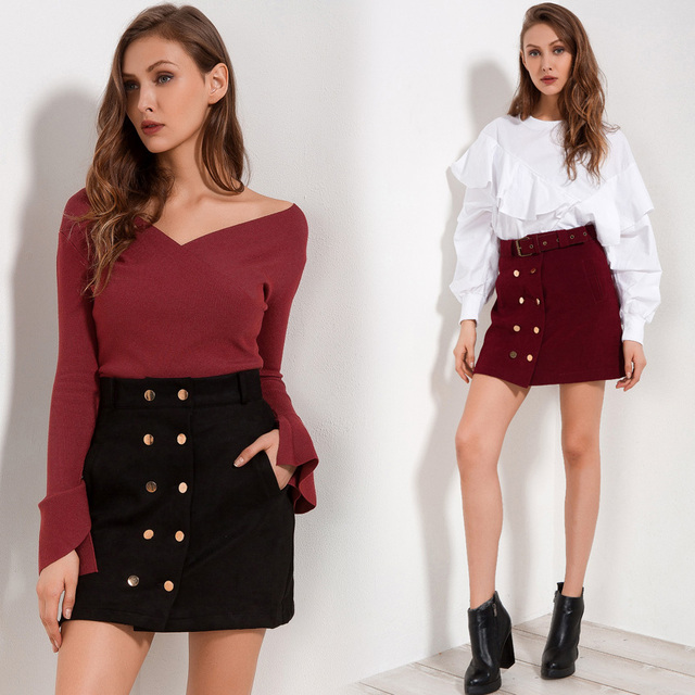High Waist Skirts Womens Autumn 2018 New Arrival Casual Skirt Red Black Double Buttons Fashion Streetwear Women Skirt With Belt