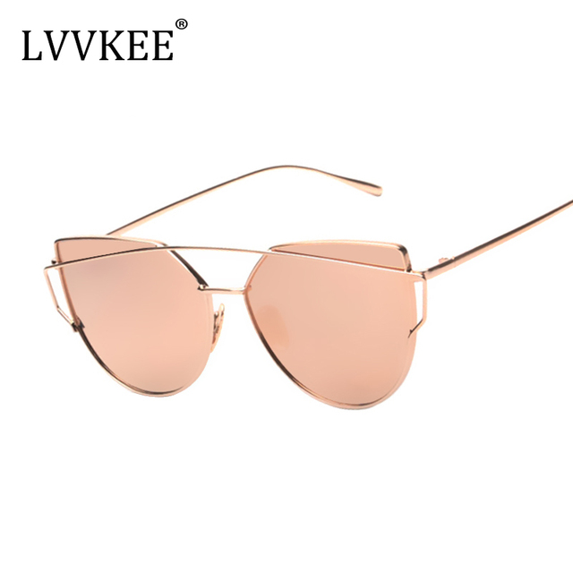 1a32ad0e471 lvvkee Hot sale Cat eye lens Plane Mirror Women Sunglasses Designer brand  Twin Beams Classic Rose Gold frame sunglasses women