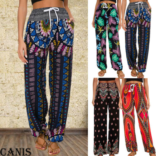 2019 Women Baggy Harem Long Pants Hippie Wide Leg Cotton Linen Gypsy Yoga Dance Boho Palazzo Trousers New Pants Capris Aliexpress