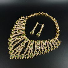 купить 2019 fashion Luxury Dubai olive green droplet zircon wedding necklace set,bride dressing,dinner ball party jewelry,free ship! дешево