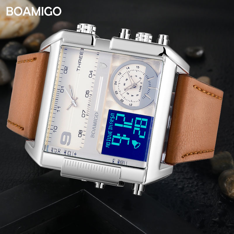 Image 2 - Dropshipping BOAMIGO brand men 3 time zone watch man sport digital watches brown leather military quartz watch relogio masculino-in Quartz Watches from Watches