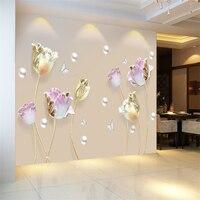В форме тюльпана от Наклейка на стену цветок 3D стены Стикеры s Гостиная Спальня Декор для ванной, дома украшения плакат