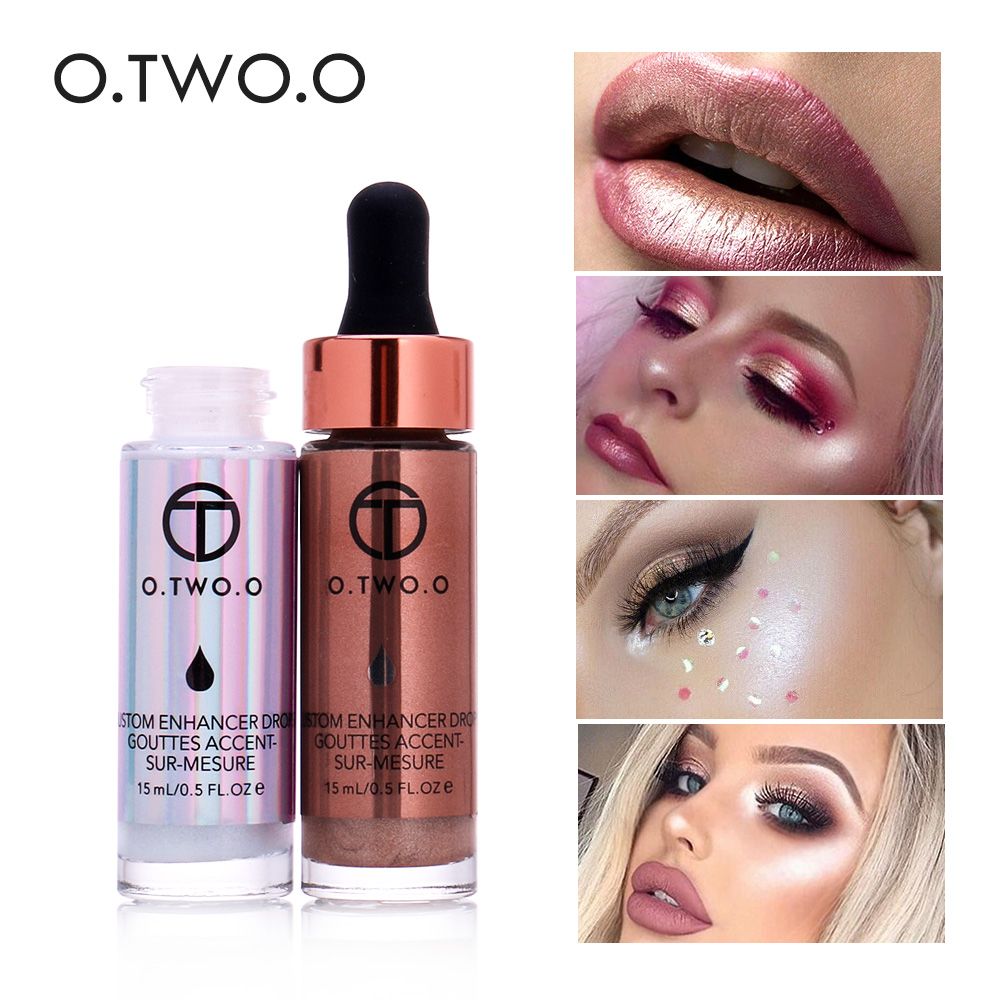 O.TWO.O Highlighter Lëng Make Up Krem Furçë Highlighter Concealer Shimmer Face Glow Ultra përqendruar ndriçues pika bronzi
