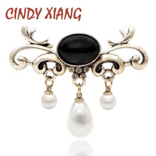 CINDY XIANG Fashion Pearl Pendant Brooches For Women Wedding Party Office Pins Elegant Jewelry Dress Coat Accessories New Style cindy xiang brooches for women simple flower fashion pins for lady meeting jewelry coat office accessories friend s gift 2018