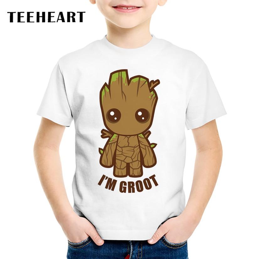 TEEHEART Guardians of the Galaxy 2 Boys/girls' T-shirt Anime Baby Groot Summer Funny I AM GROOT T Shirt Children Clothing TA633