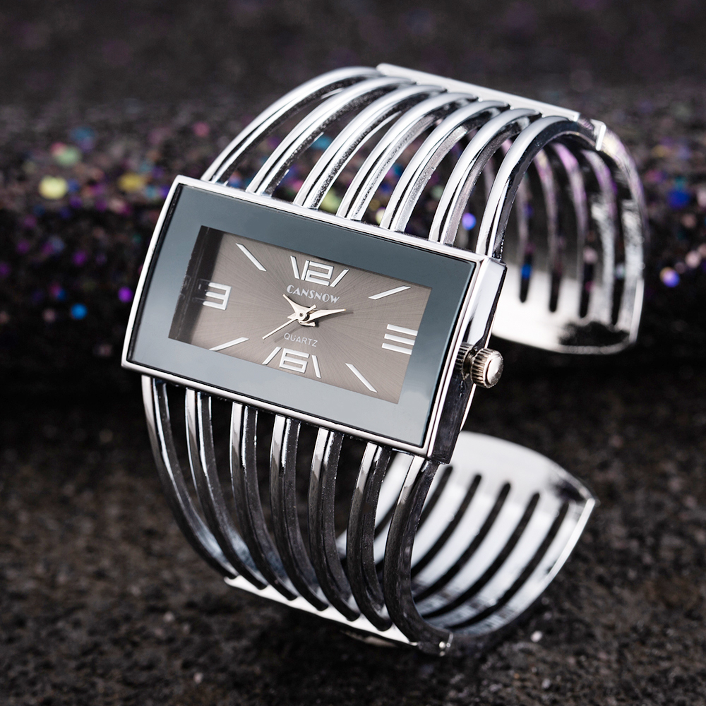 Big Face Gold Silver Cuff Bangle Watch Women Elegant Top Brand Analog Quartz Watch Ladies Watches Reloje Mujer Montre Femme Gift