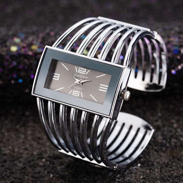 74ccf54b5 Big Face Gold Silver Cuff Bangle Watch Women Elegant Top Brand Analog  Quartz Watch Ladies Watches reloje mujer montre femme Gift