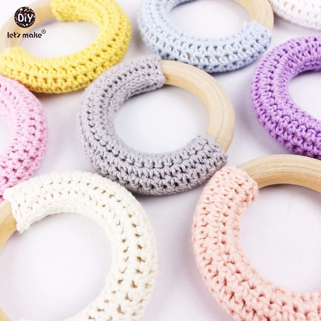 US $15 0 |Let's Make Wood Teether Baby Teething 10pc Toy Natural Maple  Cotton Wooden Ring Chunky Crochet Ring Teething Ring Baby teether-in Baby