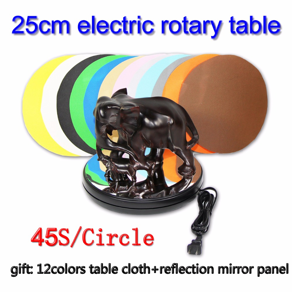 25cm electric rotary table product display with gift 12 colors table cloth + reflection mirror panel 45s display merchandise display base 360 degree electric rotary table display for photography 25cm automatic revolving platform handicraft