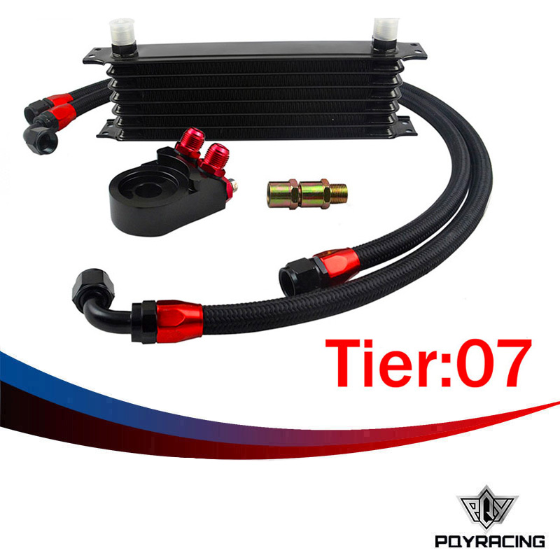 ФОТО PQY RACING- Universal 7 ROWS Trust type OIL COOLER  +AN10 Oil Filter Cooler Sandwich Plate Adapter +2PCS NYLON BRAIDED HOSE LINE