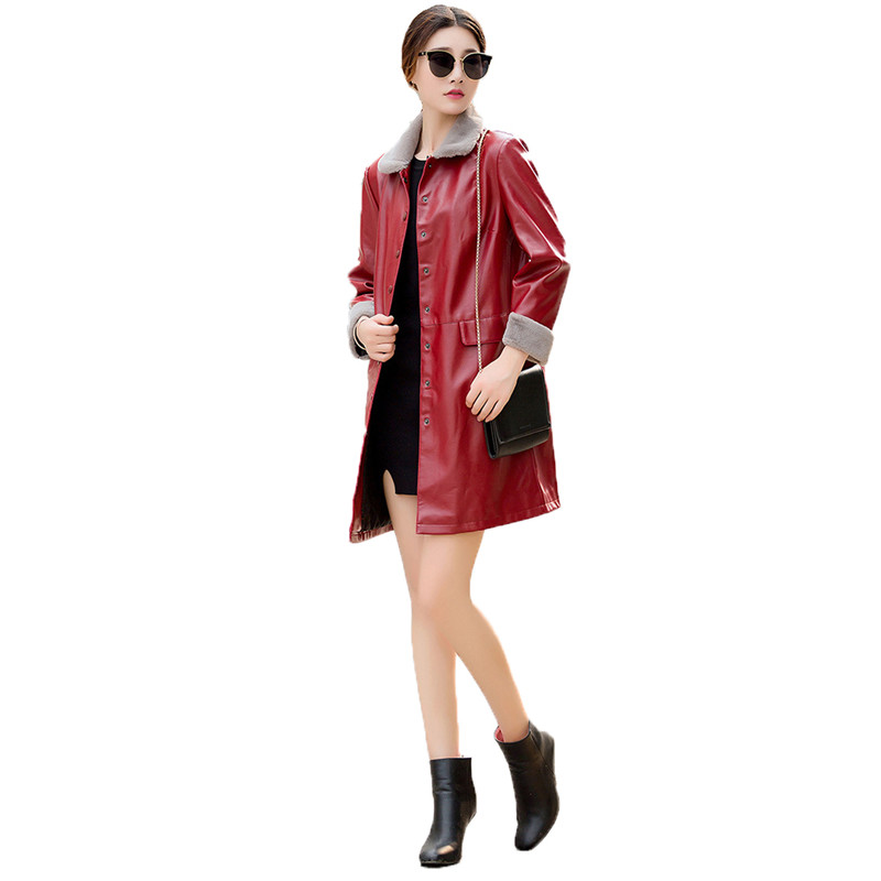 Faux   leather   coat Black red cyan XL-5XL plus size leisure PU coat women 2019 lapel long sleeve fashion faux   leather   jacket LR333