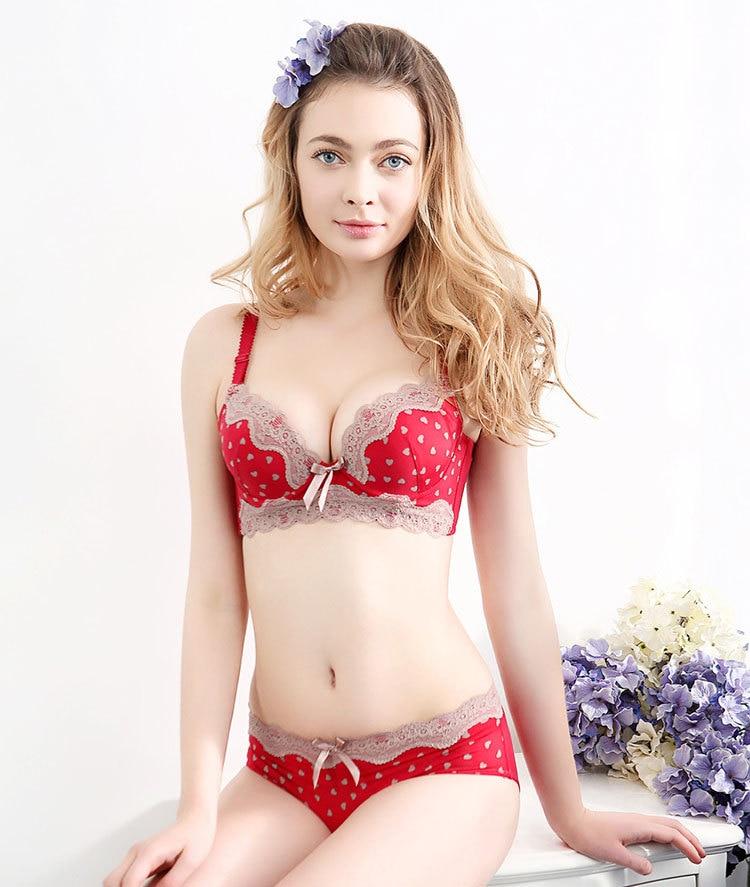 lolita red and brown heart dot women bra set cute japanese. Black Bedroom Furniture Sets. Home Design Ideas