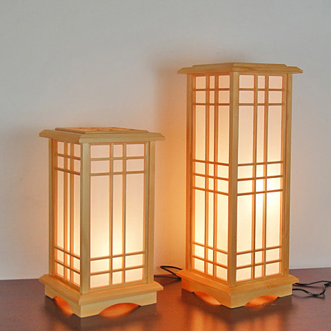 Japanese Solid Wood Floor Lamps Creative Square Bedroom Living Study Lamp Retro Home Lighting