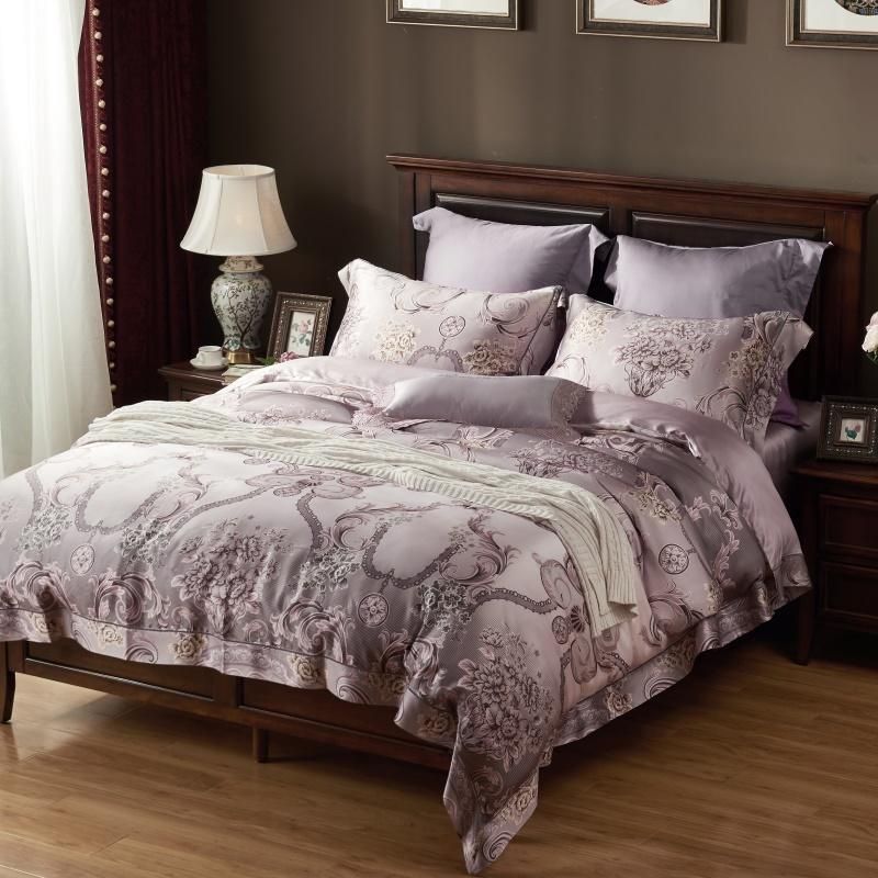 soft silk beddengo embroidery bed linen king size luxury european bed sheet adult duvet cover set jacquard hometextile queen 80s