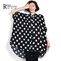 2016 Новый 5XL 6XL Плюс Размер Женщин Блузки Горошек Стиль Перевозок Негабаритных Форме Крыла Летучей Мыши Рукав Супер Свободные Рубашки Блузка (R. мелодия DS0061)