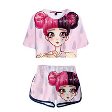 LUCKYFRIDAYF New 3D Summer Pop Shorts And T-shirts CRY BABY print Fashion Women Two Piece Sets Cool Skull Print Crop Top Clothes(China)
