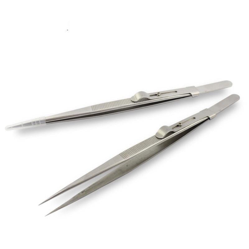 Adjustable Slide Lock Anti-static Tweezers For Jewelry Electronic Component Repair Hand Tools