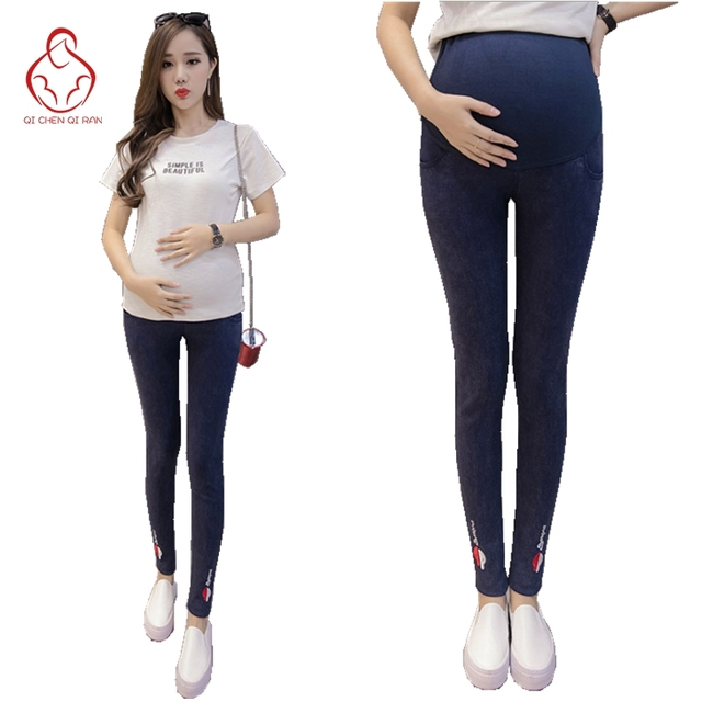 a22ea777c9ba4 Spring new maternity dress fashion embroidery pregnant women pants stretch  birth uniforms pregnant jeans pregnant clothes