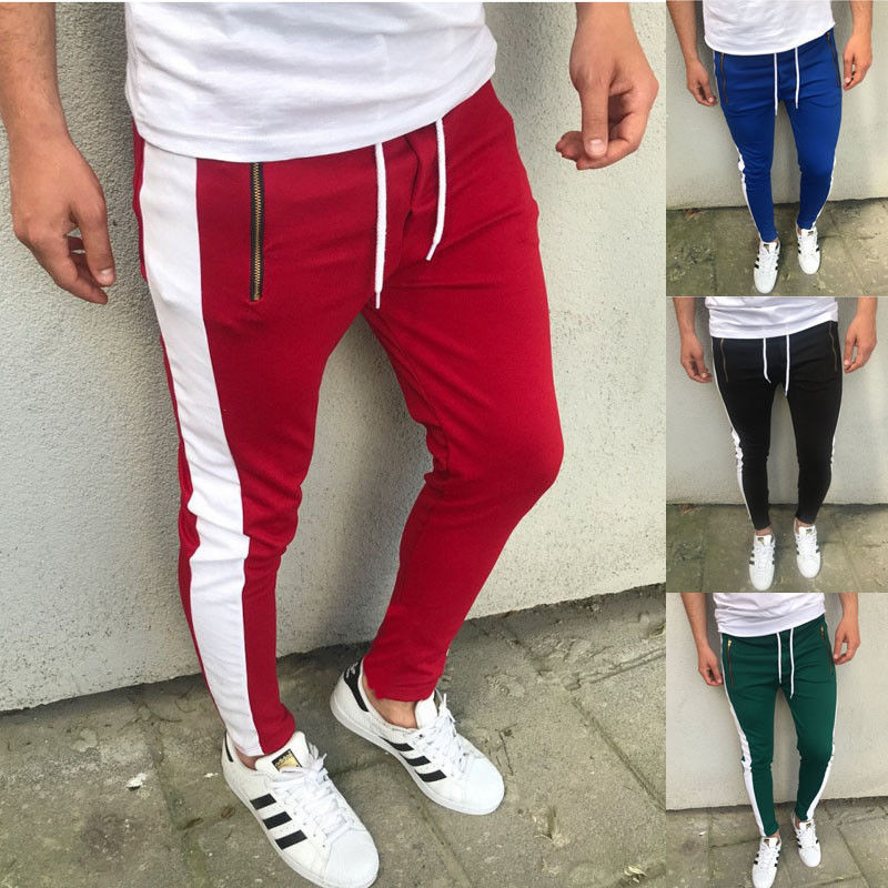 2018 Joggers Mens Streetwear Dünne Seite Streifen Kordelzug Hip Hop Männer Trackpants Slack Sweatpant Kühlen Biker Bleistift Hosen Dünne Top Wassermelonen