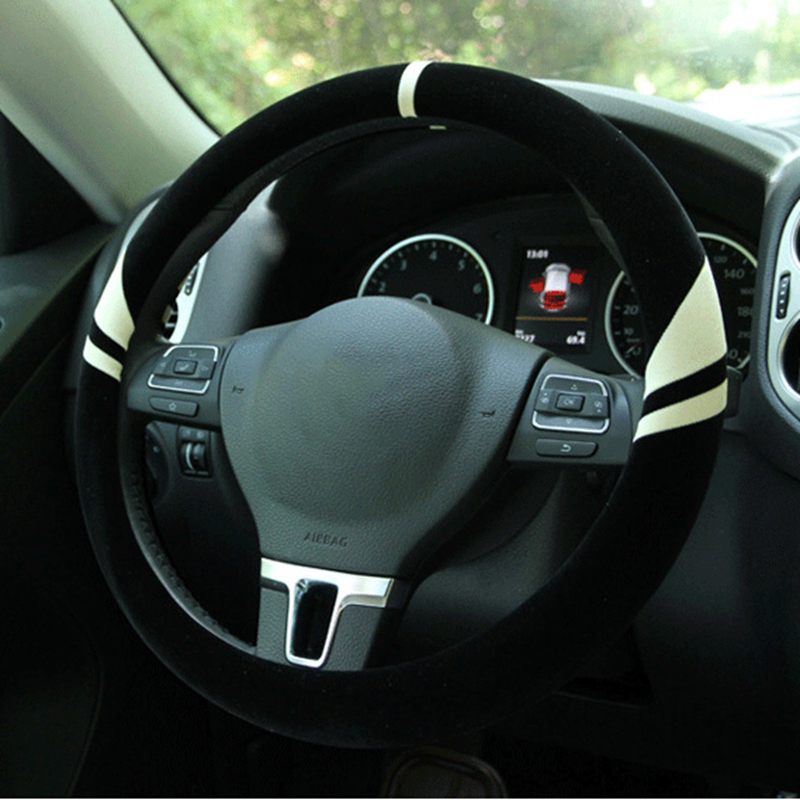 New winter short plush plush steering wheel cover Clover upgraded version non-slip plus lint-free steering washable set