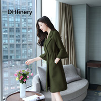 DHfinery slim trench coat for women flare sleeve Casual Elegant Office clothes ladies red pink Jacket plus size M 4XL bs5702