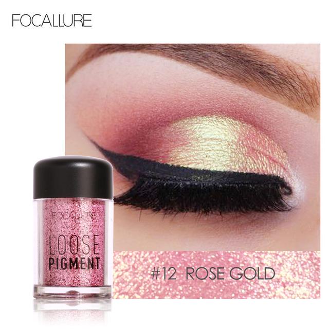 FOCALLURE Glitter Eye Shadow 18 Colors Cosmetic Makeup Diamond Lips Loose Makeup Eyes Pigment Powder Comestic Single Eye Shadow