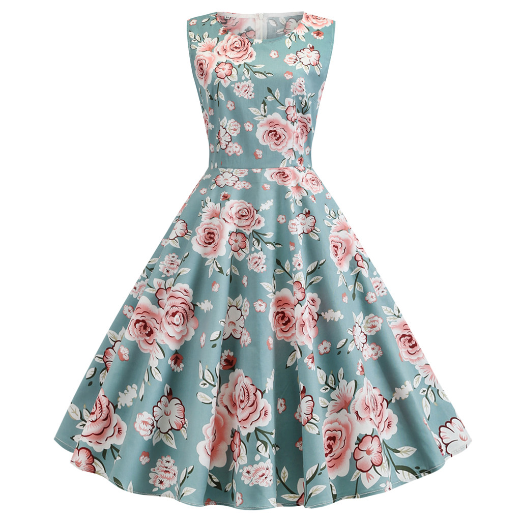 Women Summer <font><b>Dress</b></font> 2019 Floral Print Retro <font><b>Vintage</b></font> <font><b>1950s</b></font> <font><b>60s</b></font> Casual Party Office Robe Rockabilly <font><b>Dresses</b></font> Plus Size Vestido Mujer image