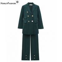 HarleyFashion Europe and America Loose Style Gold Button Sevenal Pocket Women set elegant twin Suit
