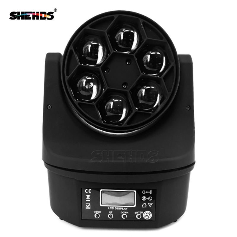 SHEHDS LED 6X15W RGBW 4IN1 Bee Eyes Light LED Moving Head Beam+Wash Light DMX 512 Stage Light Luces Discoteca Disco Nightclub
