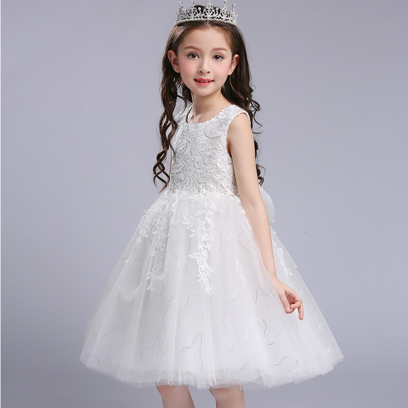2018 NEW High Quality Bridal Flower Girl Dress Party Evening Kids Girls Lace Flower Bow Ball Gown Prom Princess Tutu dress 5-16Y girl dress tutu bubble dresses ball gown new pattern embroidered bow princess children evening party evening party tritrust