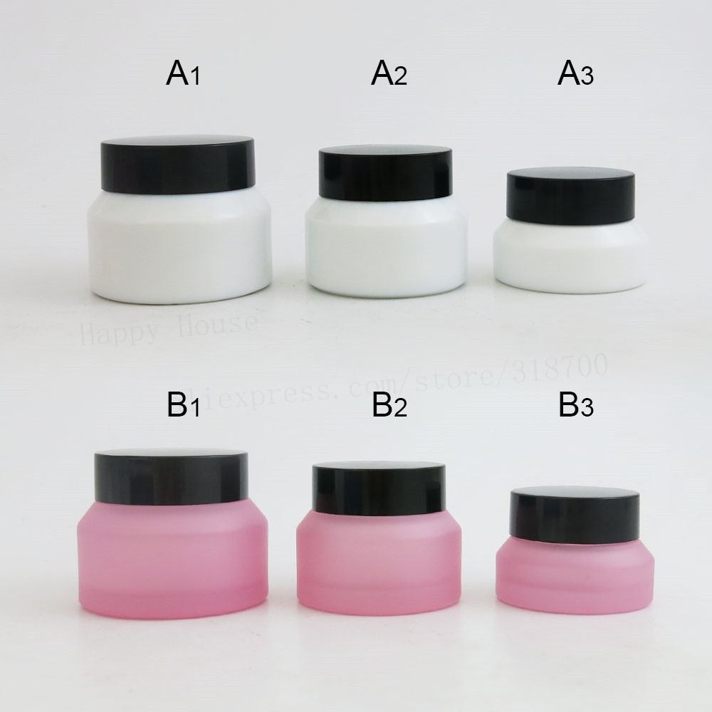 360 x 15g 30g 50g Frost Pink White Inclined Shoulder Glass Cream Jar with black lids seal Empty Cosmetic Packaging Container