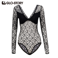 GLO STORY Wome S Lace Bodysuits Jumpsuit 2017 New Long Sleeve Deep V Neck Sexy Embroidered