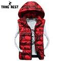 Tangnest desmontable capucha chaleco 2017 nueva llegada de moda chaleco de camuflaje chaleco de invierno cálido cómodo tamaño asiático 3xl mwb226