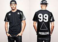 Heybig Mens T Shirts Fashion 2014 Problems 99 Five Pointed Star Leather Digital Neck Short Sleeve