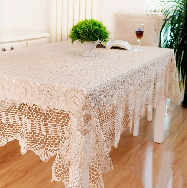 Square Round Hook Needle Crochet Dining Table Cloth Fabric Table Cloth  Rustic Table Cloth Rectangle Table