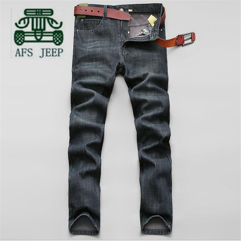 AFS JEEP Wholesale Price Man's Mid Waist Cotton Casual Cashmere inner Denim Pant,Straight Plaid Thickness Quality Brand Jeans от Aliexpress INT