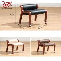 leather foot stools Ottoman soft cushion taburete plegable wooden furniture four legs soft cushion small chair free shipping