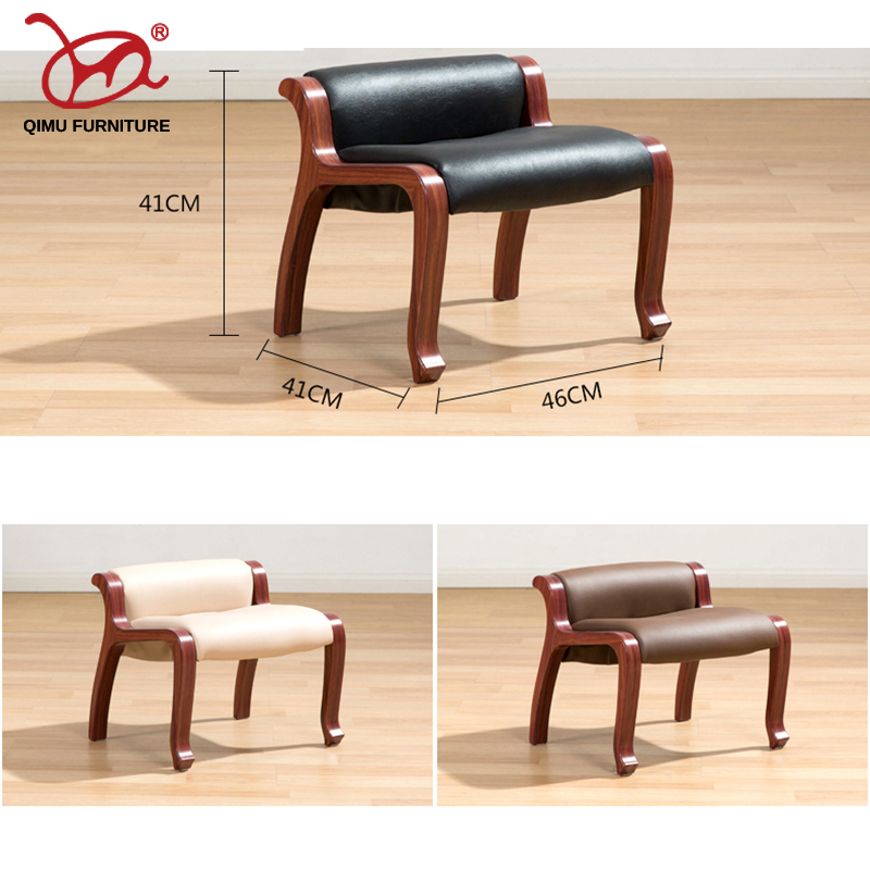 Small Chair With Ottoman: Leather Foot Stools Ottoman Soft Cushion Taburete Plegable
