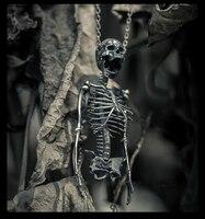Ювелирное Украшение с оригинальным дизайном: S925 череп из серебра половина тела Скелет кормовой кости Для мужчин и Для женщин кулон Цепочки